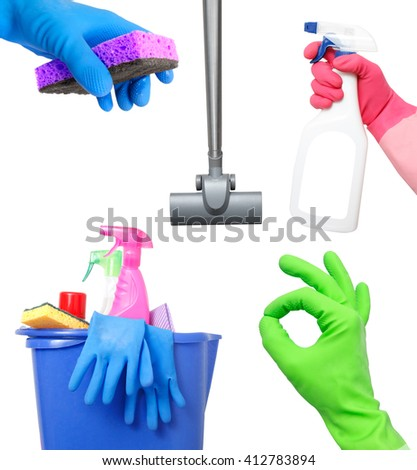 Cleaning on white - stock photo