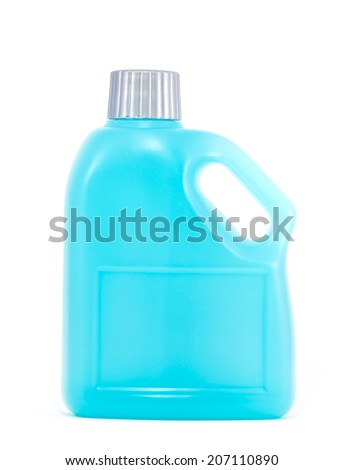 Cleaning product, Blue plastic bottle on white background - stock photo