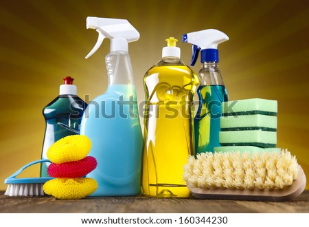 Cleaning products and sunshine - stock photo