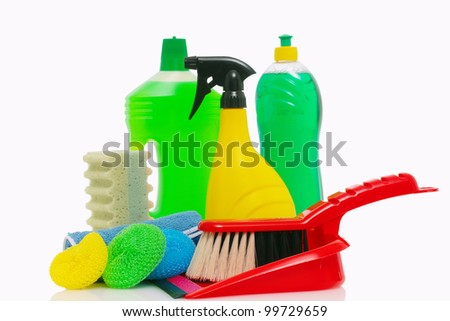 cleaning products and tools on white background