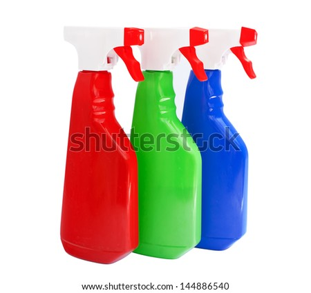 cleaning products bottles isolated on white