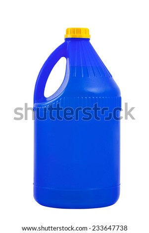 Cleaning products. Detergent plastic bottle isolated on white background, with blank for text.