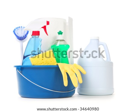 Cleaning Products for Daily Use in the Home on White Background