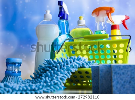 Cleaning products, home work colorful theme - stock photo