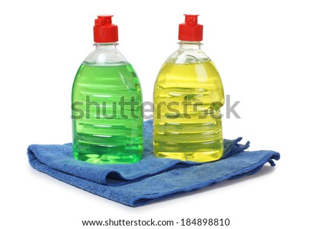Cleaning products in plastic bottle on white background - stock photo