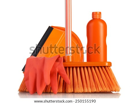 Cleaning products isolated on white background - stock photo