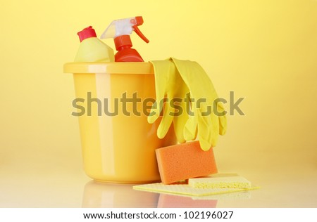 cleaning products  on bright background