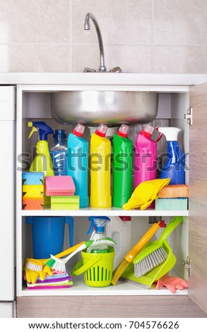 cleaning products placed kitchen cabinet under stock photo edit now rh shutterstock com best kitchen cabinet cleaning products kitchen cupboard cleaning products
