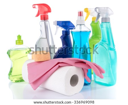 Cleaning products with sponge and rubber gloves, isolated on white - stock photo