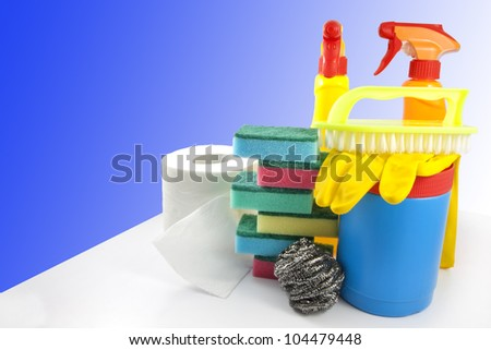 cleaning set accessories for cleaner - stock photo