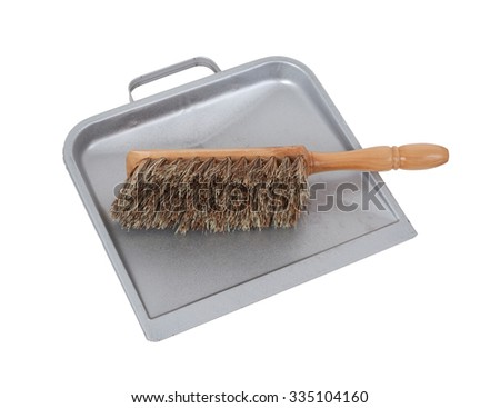 Cleaning set of dust pan and brush - stock photo