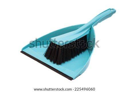 Cleaning set of dustpan and brush isolated on white background