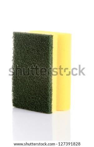 Cleaning sponge isolated on white - stock photo