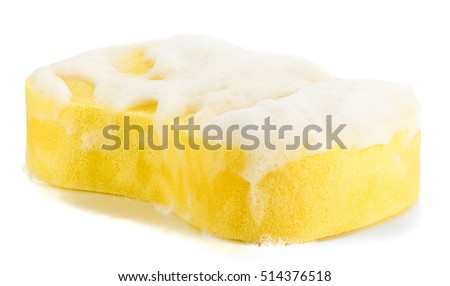Cleaning Sponge with Soap Sud Isolated