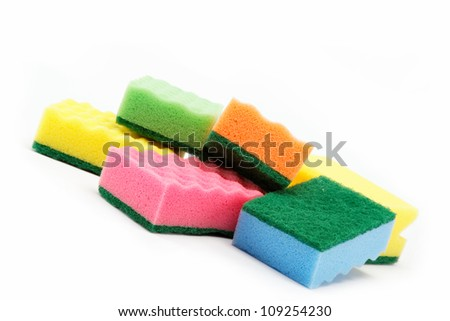 cleaning sponges on a white background.