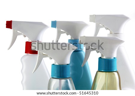 Cleaning spray bottles isolated on a white background. - stock photo