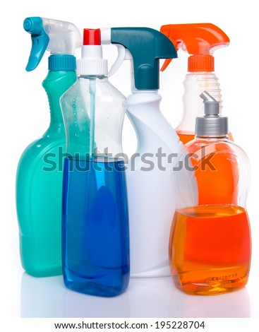 Cleaning spray products, isolated on white