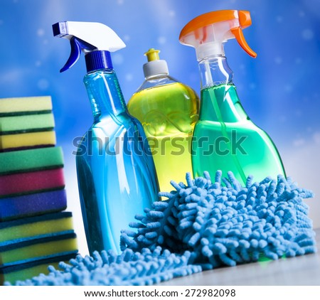 Cleaning supplies,home work colorful theme - stock photo