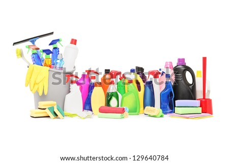 Cleaning supplies isolated on white background - stock photo