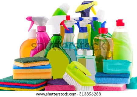 Cleaning supplies isolated on white background. - stock photo