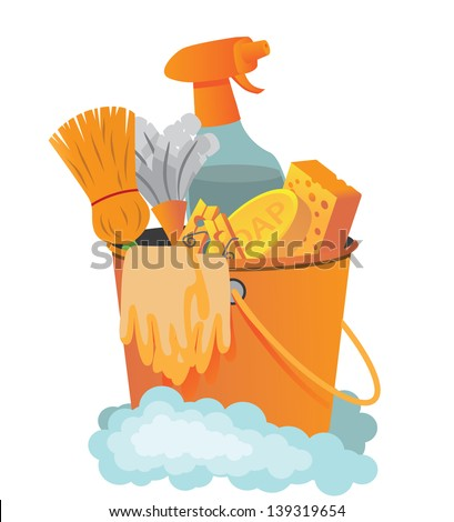 Cleaning supplies. jpg - stock photo