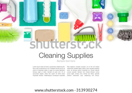 cleaning supplies on white background top view - stock photo