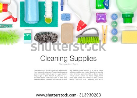 cleaning supplies on white background top view