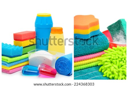 Cleaning supplies, sponges, cleaning powder and  garbage bags isolated on white. Collage