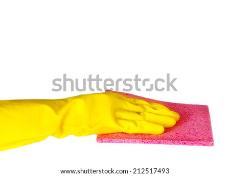 Cleaning surface in rubber gloves isolated on white background