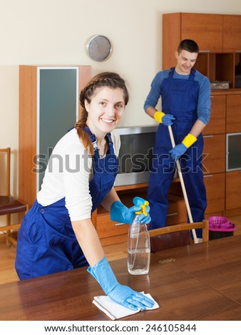 Cleaning team is ready to work - stock photo