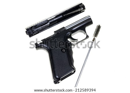 Cleaning the Gun 9 mm. - stock photo
