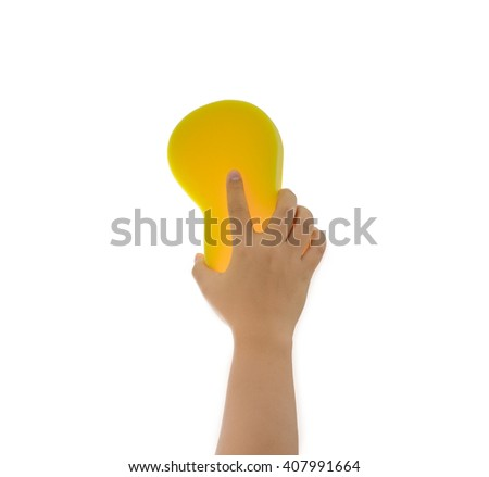 Cleaning the house and sanitation topic: Hand holding a yellow sponge wet with foam isolated on white background - stock photo
