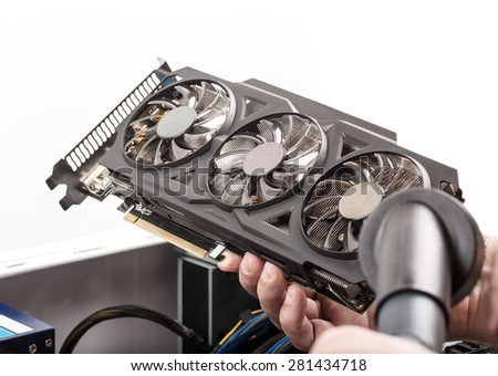 cleaning the video card for the computer - stock photo