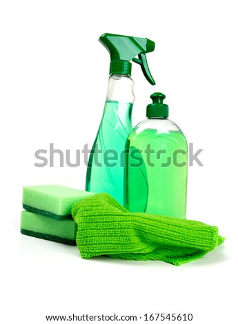 cleaning tools isolated on white - stock photo