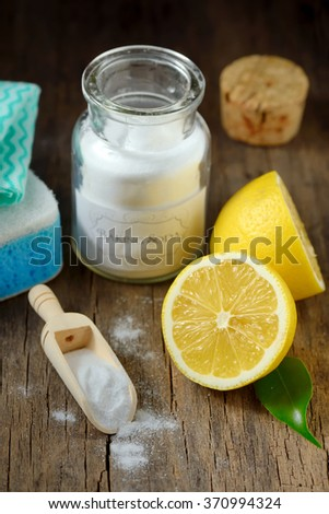 Cleaning tools lemon and sodium bicarbonate for house keeping - stock photo