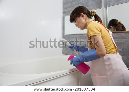 cleaning up bathroom