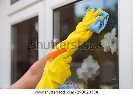 Cleaning Windows - stock photo