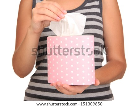 Cleaning wipes in hands isolated on white