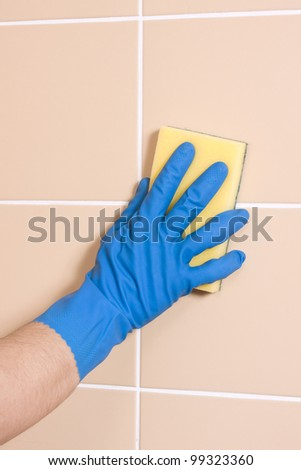 cleaning with gloves - stock photo