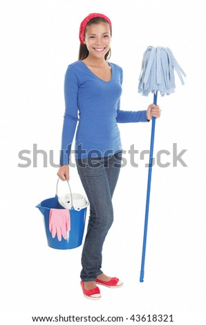 Cleaning woman happy and satisfied standing in full length with a mop on seamless white background. Beautiful mixed race chinese / caucasian model. - stock photo