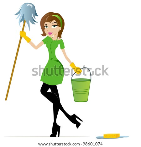 Cleaning Woman with Mop and Bucket - stock photo