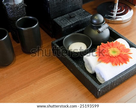 cleanser set in bathroom - stock photo