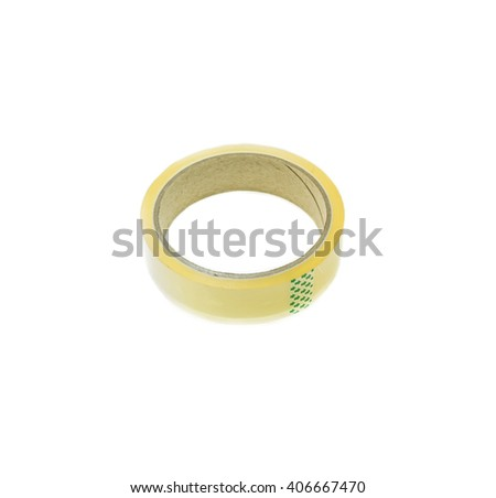 Clear adhesive tape on white background - stock photo