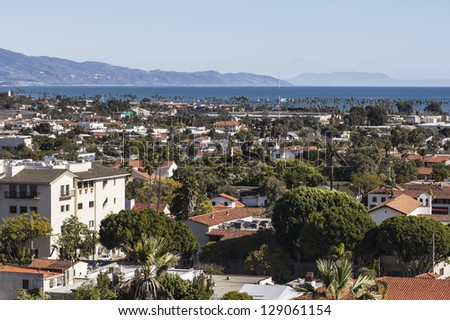 Clear afternoon view of Santa Barbara, California. - stock photo