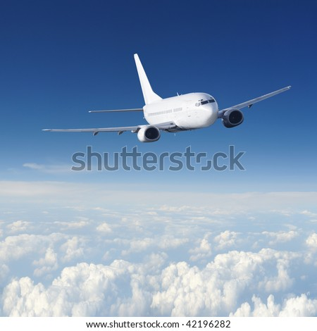 Clear airplane in the sky  - Passenger Airliner / aircraft