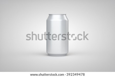 Clear aluminum can on white studio