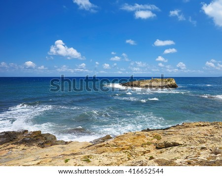 Clear azure sea water landscape and rocks near Crete coast, Greece - stock photo
