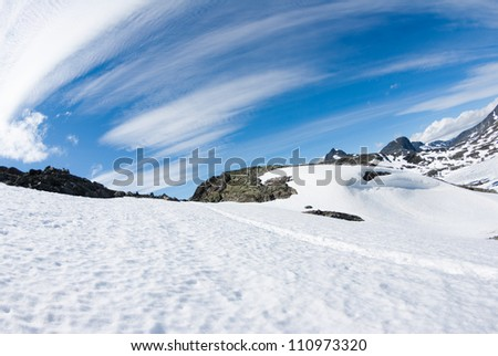 clear blue sky and snow - stock photo
