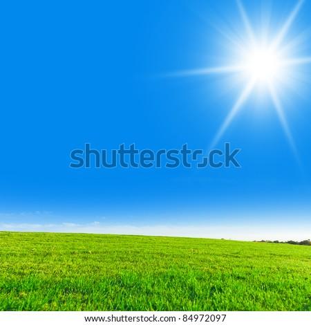 Clear Blue Sky Sun in the Sky - stock photo