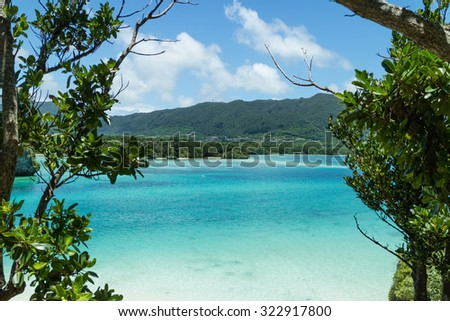 Clear blue tropical lagoon water from jungle, Kabira Bay, Ishigaki Island National Park of the Yaeyama Islands, Okinawa, Japan - stock photo